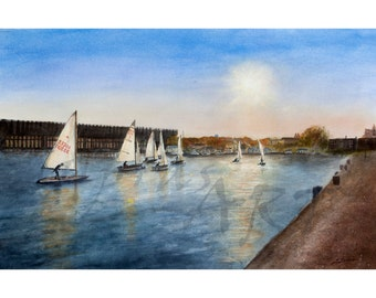 SUMMER BREEZE - Sail boats in Lake Superior Marquette Lower Harbor a Limited Edition Print by Scott Dupras