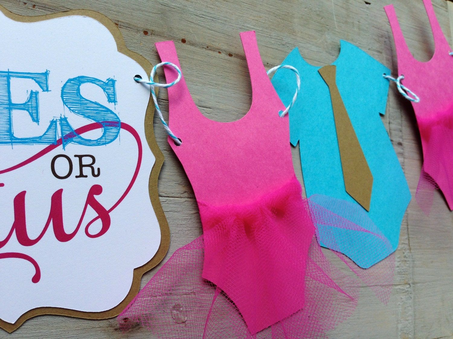 Ties Or Tutus Gender Reveal Baby Shower Banner By