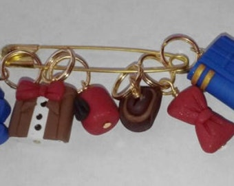 Stitch Markers Doctor Who Matt Smith 11th Doctor Whovian  - Fez, Cowboy hat, Bow Tie, Riversong Journal, Suit, 2 hearts