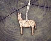 Zebra Ornament Wood Laser Cut Heirloom African Animal Safari Zoo Natural