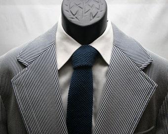 Blue and White Striped Blazer / Vintage Men's Jacket  / Size 40 Slim Fit