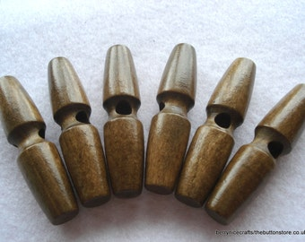 60mm Brown Wood Toggle Button Pack of 6 Large Wood Toggles TOG22