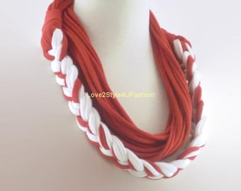 Red and White Infinity Scarf, Womens, Scarves, Birthday Gift, Boho, Chic, Fashion Necklace, Gift, Stocking Stuffer, Accessories, Braided