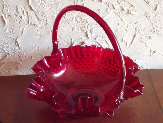 Vintage 1970s Ruby Red Fenton Hobnail Basket With Handle And Embossed Fenton Mark On Bottom