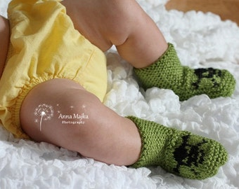 Baby Pirate hand knitted booties - 6-9 months - Many colors available