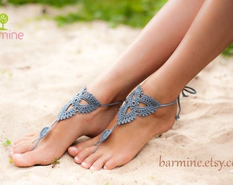 Grey Crochet Barefoot Sandals, Nude shoes, Foot jewelry, Bridesmaid accessory, Yoga shoes, Festival, Beach accessory, Destination wedding