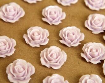 20 pc. Pale Lavender Crisp Petal Rose Cabochons 18mm | RES-374