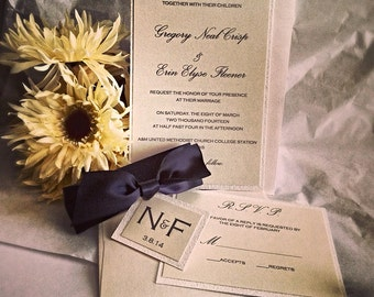 Wedding invitations, Light Champagne, Black Ribbon, and White Glitter Invitation Set