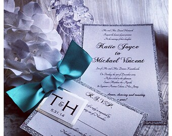 Teal Wedding Invitation, silver and teal wedding inviations, silver wedding invitations