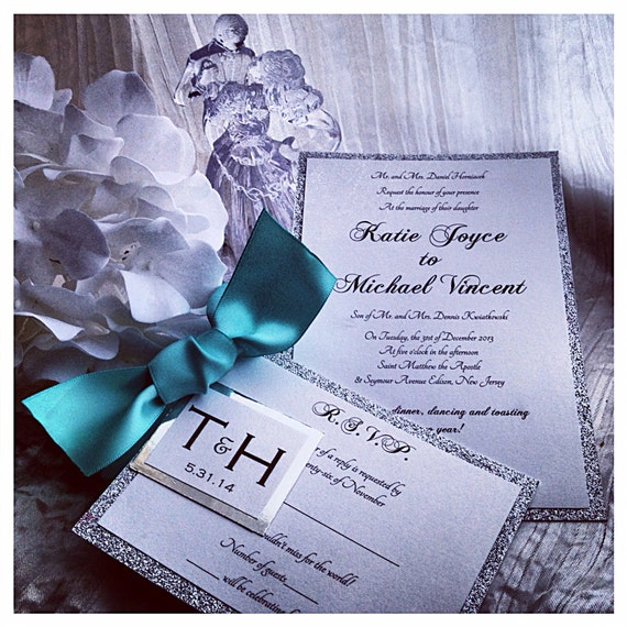 Teal Wedding Invitation Silver And Teal Wedding Inviations