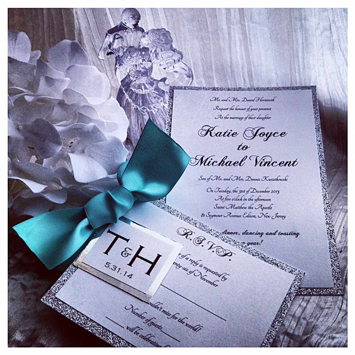 Silver Wedding Invitations: Teal Wedding Invitation Silver And Teal Wedding Inviations
