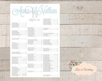 Wedding Seating Chart : Printable Digital File (with Monogram & Personal Message) 24 HOUR TURNAROUND