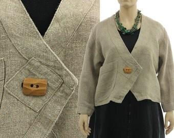 Hemp jacket, boxy hemp jacket, asymmetrical hemp jacket, pointed front, jacket in nature beige / lagenlook plus sized women L XL, US 14-18