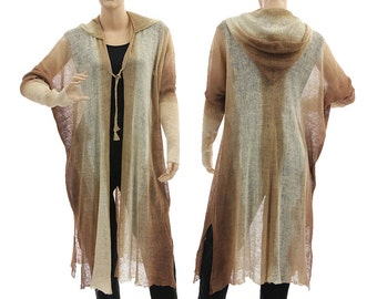 Boho knitted linen hooded coat duster wrap, linen hand dyed hoodie off white with brown, lagenlook coat plus size women M-XL, US size 12-18