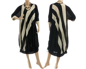 Artsy boho wide shaped balloon dress, hand dyed black white stripes are sewn together / lagenlook for plus size women, L-XL, US size 14-18