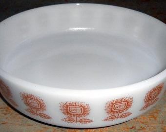 Vintage Bowl, Casserole, Federal Glass Company, Sunflower, 8 inch, Milk Glass