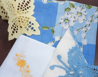 Blue & Yellow 4 pack of vintage 50's handkerchief