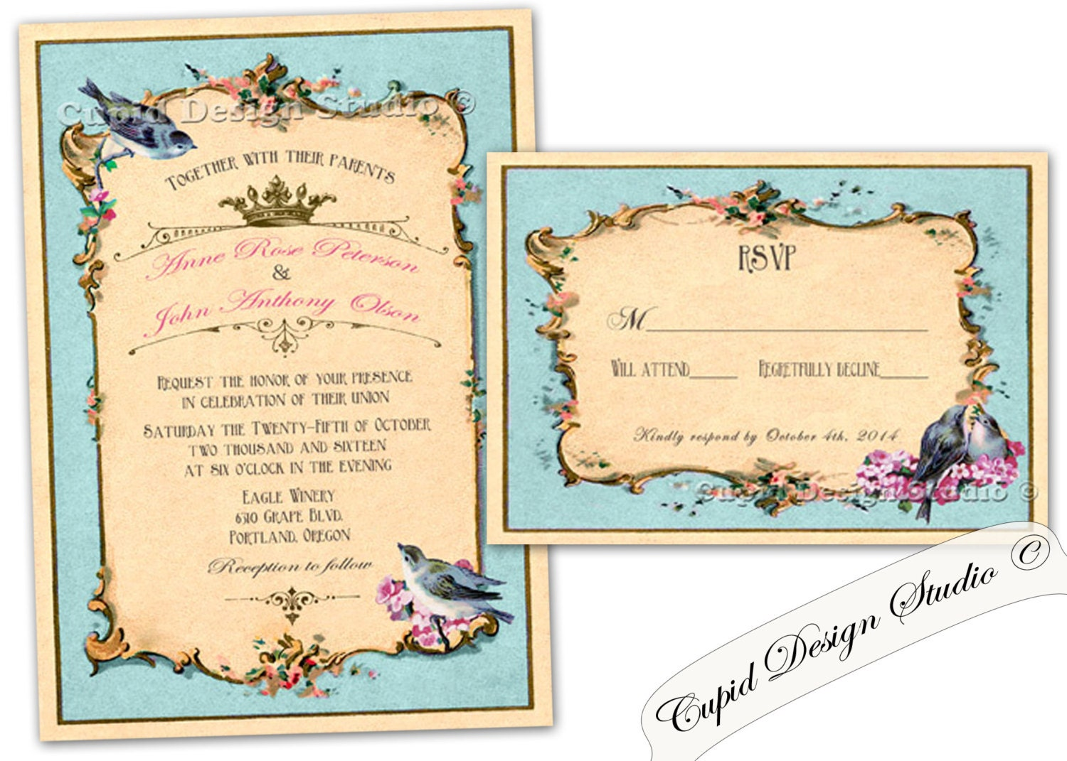 Bird Wedding Invitation: Romantic Birds Wedding Invitation. Birds Wedding Invitations