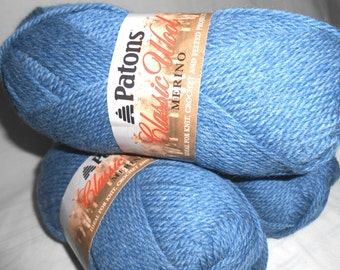 one skein of Patons Classic Blue Wool yarn destash