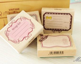 4 Pcs Big Size Message Stamps - Rubber Stamp - Wood Stamp - Filofax - 9cm x7.5cm
