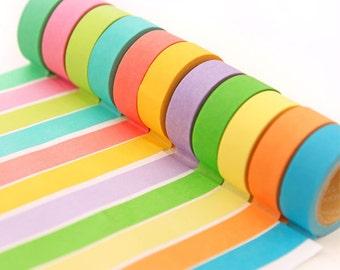 Solid Color Washi Tape - Japanese Washi Tape - Masking Tape - Deco Tape - Filofax - 1 Roll