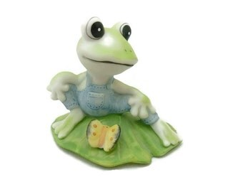 Homco Porcelain Frog On Lily Pad 1447