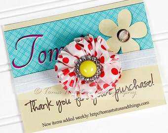 Flower Headband, White, Red Polka Dot, Yellow, White Satin Elastic -SHIPS FREE!