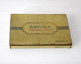 1920s Vintage Cigarette Tin Box - Abdulla Virginia Leaf