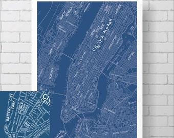 Typography New York City Map Print / Manhattan Street Map Drawing - Custom NYC Map, Various Colors, Map Art Print Poster