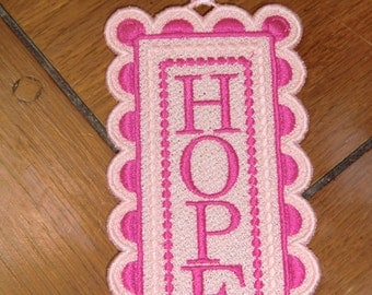 "Embroidered Bookmark  - ""Hope"""