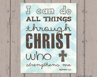 Scripture Art, Bible Verse Art, Faith Based Art, Philippians 4:13, Faith art by Jennifer McCully