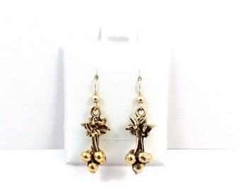 Pewter Gold Toned Radish Charms on Gold Filled French Hook Dangle Earrings-5513