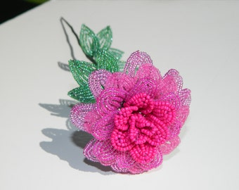 Pink French Beaded Flower