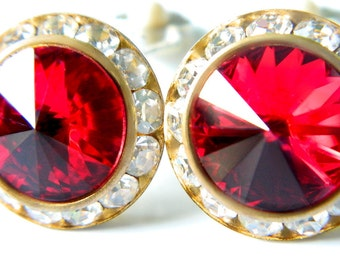 Red Rivoli Earrings Swarovski Crystal Vintage Collectible Jewelry 1950's Mid Century Vibrant Red Sparkling Crystal For Women