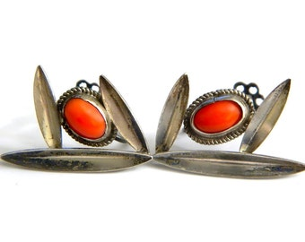Coral Silver Earrings Native American Vintage Collectible Gemstone Jewelry 800 Silver Red Coral Handmade Southwestern Earrings Harvey Era