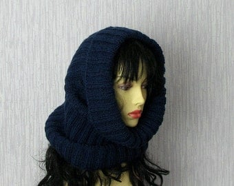 Womens Hat - Cowl Handknitted - Cowl Blue Navy - Knitt Hat -