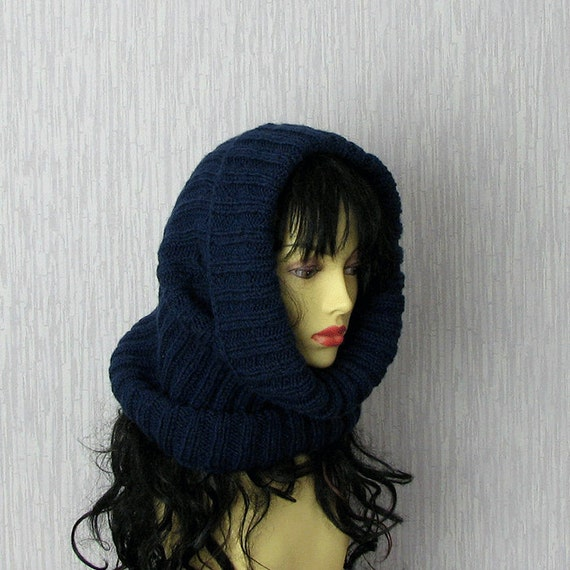 Womens Hat - Cowl Handknitted - Cowl Blue Navy - Knitt Hat -