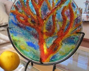 Fused glass, Fused Glass Art, Orange Tree, (stand included) fused glass plate, Glass Art, Art Plate, fused, glass round, decorative plate