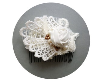 Ivory Lace Wedding Hair Comb Ivory Accessories, Flower, Silk Rose, Hair Piece, Vintage Bride, Ivory Bride Floral Weddings