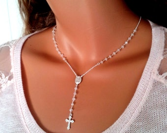 Rosary Necklaces Sterling Silver Moonstone Necklace Womens Custom Cross Miraculous Elegant