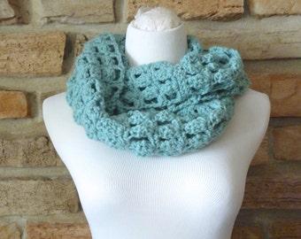 Womens aqua green crochet infinity scarf handmade turquoise neck warmer