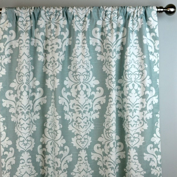 Pale Snowy Blue White Belrin Damask Curtains Rod by Zeldabelle