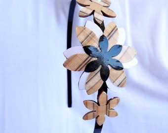 Natural colors headband, Women's headbands, Plaid headband, Women hair accessories, Flower headband, Adult headband, Women's accessories