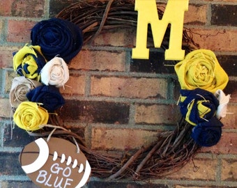 Burlap Michigan Wolverines Wreath