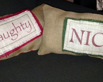 Burlap Naughty and Nice Pillow Set
