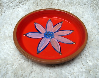 Large 6.5 inch Hand Painted Terra Cotta Dish in Red with Pink Flower Perfect for Jewelry Keys and Change