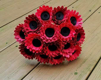 Paper Flower Bouquet -  15 Red Daisy Paper Flowers  - Handmade Paper Flowers for Brides, Weddings, Showers, Birthdays, Mother's Day
