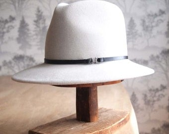 """Celine:   Sueded  Felt Fedora in Ice with 1/4"""" black leather trim with silver finding"""