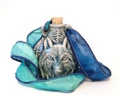 Rear View Mirror Wolf Car Hanger Accessory Wolves Guardian Family Nurturing Animal Blue Ornament Dog Unique Christmas Gift For Him or Her