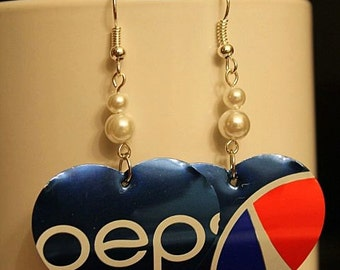 Hearts Recycled Pepsi Soda Can Earrngs with Whie Pearls